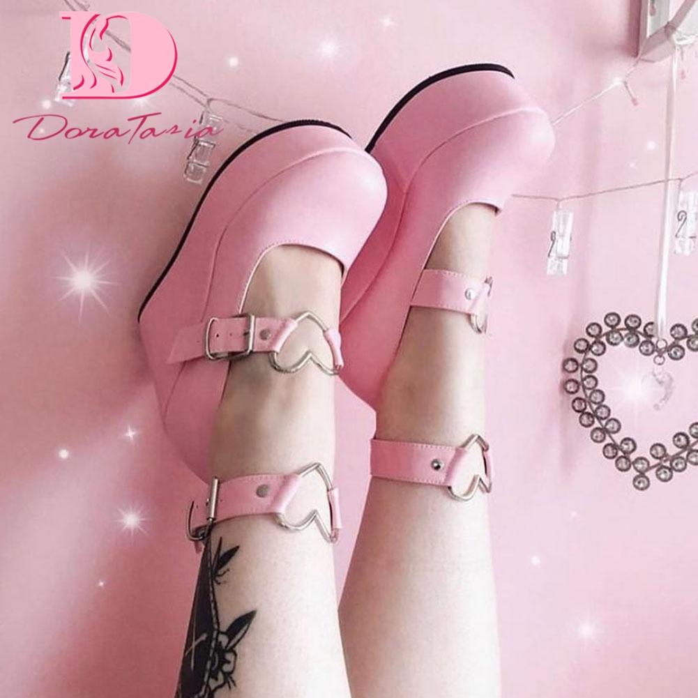 Doratasia Brand New Ladies Pink Sweet Cute women's Pumps Wedges High Heels Pumps Fashion Platform Lolita Gothic Shoes Woman