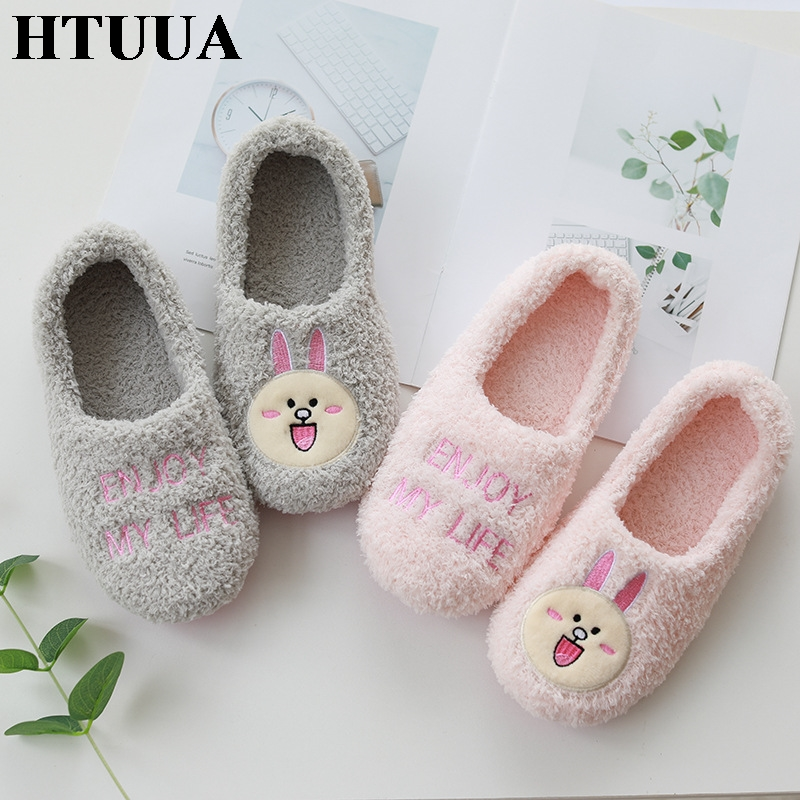 HTUUA Women's Slippers Warm-House Home-Shoes Velvet Plus Winter New Thick Autumn Indoor