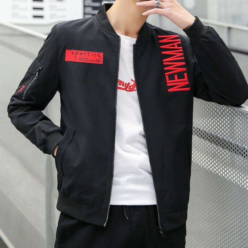 moderno y elegante en moda Amazonas real mejor valorado US $37.44 30% OFF|Veste Homme 2019 Chaqueta Hombre Solid Color Personality  Letter Collar Mens Jacket Fashion Zipper Casual Men'S Clothing on ...