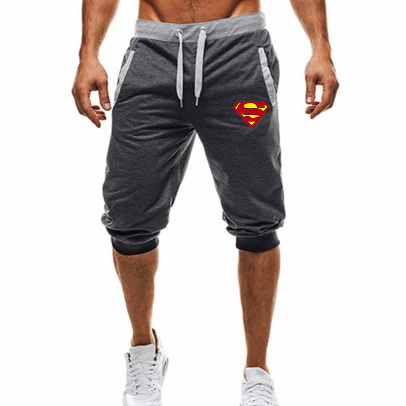 Captain America Superman Printed  Shorts Men Summer Leisure Knee Length Shorts Fitness  Sweatpants Trousers Men  Shorts