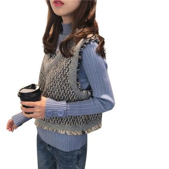 Autumn Winter Sweater Slim Sweet Sweater Stitching Color Pullover V-neck Loose Casual Sweater 4