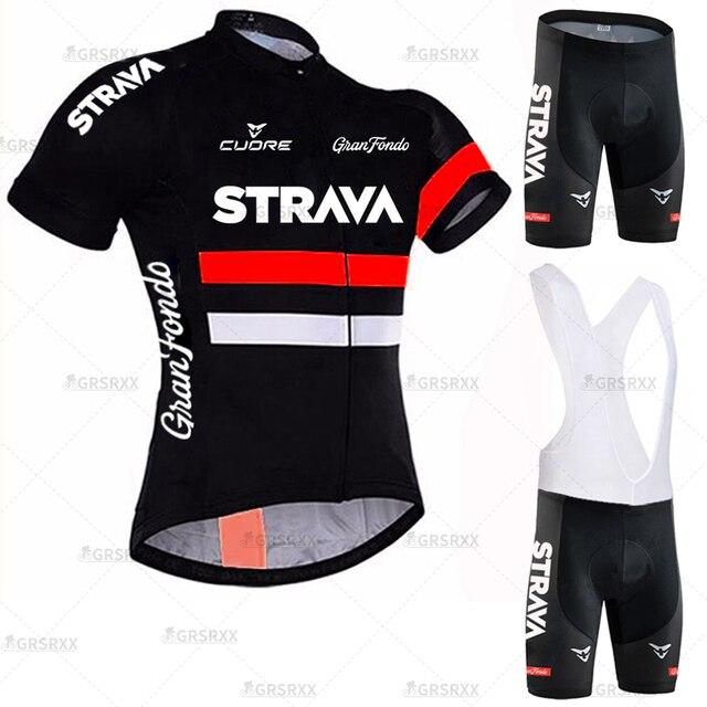STRAVA Radfahren Jersey Männer Set Bib Shorts Set 2021 Sommer Mountainbike Fahrrad Anzug Anti Uv Fahrrad Team Racing Einheitliche Kleidung