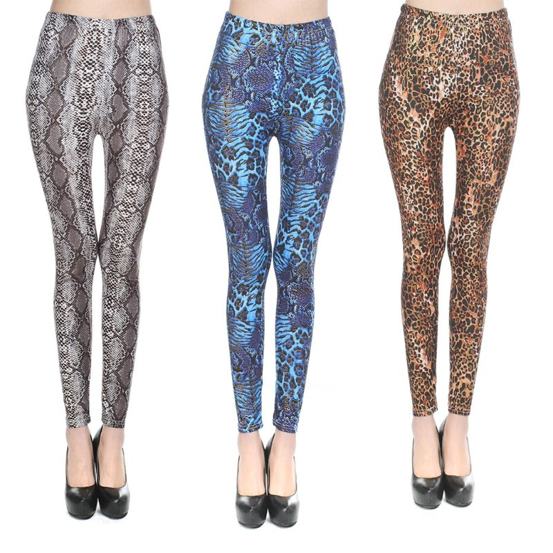 Women Mid Rise Sexy Leggings Metallic Leopard Snakeskin Digital Printed Slim Ankle-Length Fitness Sport Casual Pants