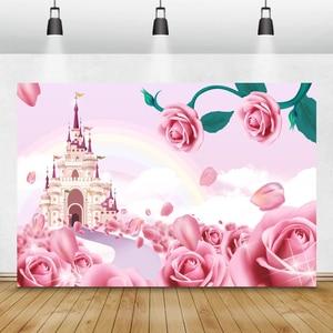 Image 5 - Laeaccoベビーシャワーphotocallピンクの花咲く木城写真撮影の背景新生児背景誕生日photophone