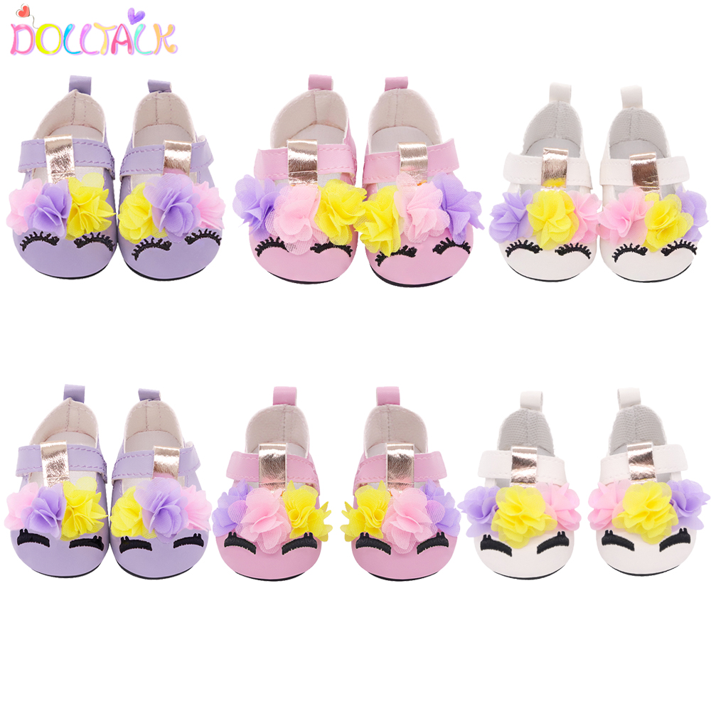 7cm Cute 3 Flower Doll Shoes For 43cm New Bron Doll Leather Eyelash Embroidery Mini Shoes For 18 Inches& Our Our Generation Doll