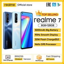 Realme 7 versão global telefones celulares desbloqueado 30w carga rápida smartphone 8gb ram 128gb rom telefones celulares helio g95 telefone de jogos