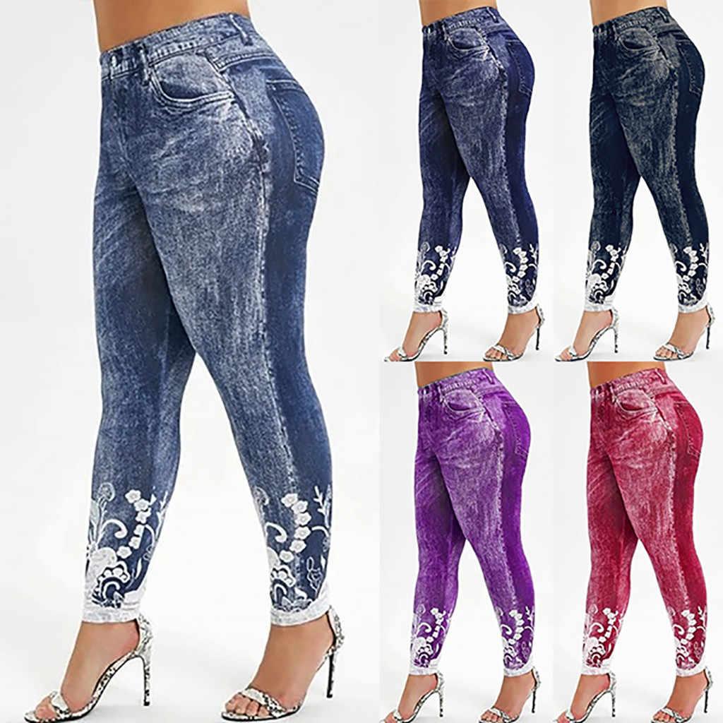 Mulheres cintura alta leggings imite jeans impresso yo ga estiramento esportes lápis calças joggers leggings senhoras calças de moletom