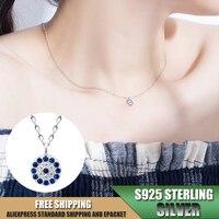 Синее ожерелье с подвеской из стерлингового серебра S925 пробы для женщин, ожерелье с цирконием, ювелирные аксессуары, оптовая продажа A061