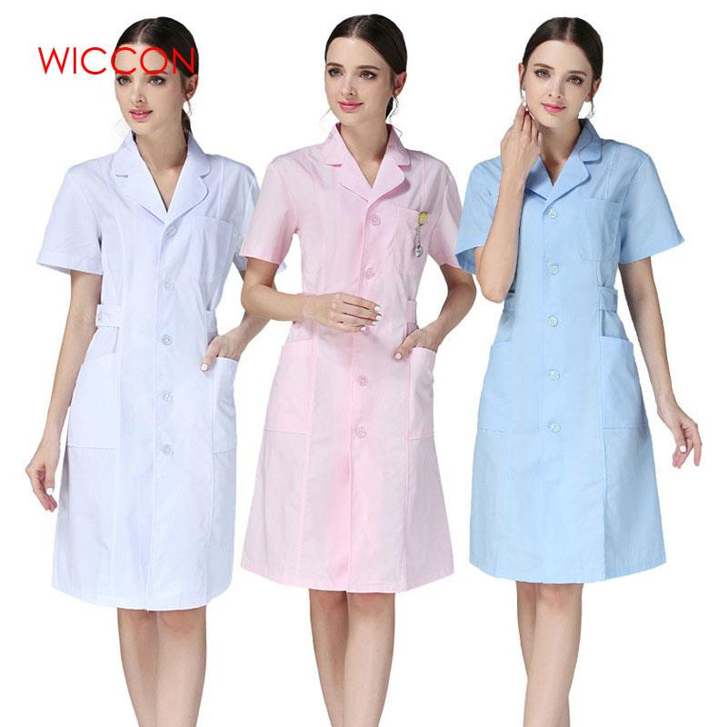 WICCON 2019 New  Women Short-sleeve Medical Coat Clothing Physician Services Uniform Nurse Clothing Protect Lab Coats Clothes