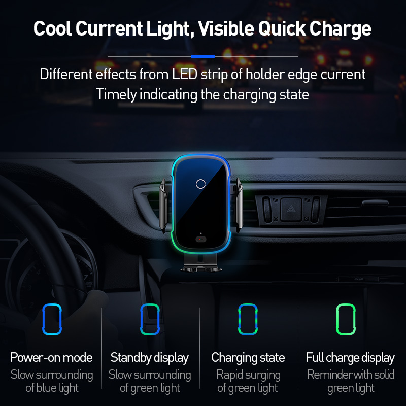 Baseus 15W Wireless Charger Car Mount for Air Vent Mount Car Phone Holder Intelligent Infrared Fast Wireless Charging Charger 5
