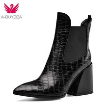Real Leather Ankle Boots for Women Fashion Pointed Toe High Heels Womens Western Boots Slip-on Ladies Winter Black Shoes Size 43 стоимость