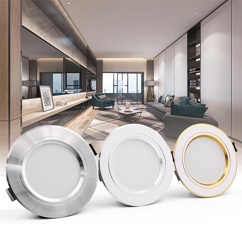 LED Downlight Gold/Silver/White Body 5W 9W 12W 15W 18W Led Ceiling Light AC 220V 230V 240V LED Spotlight For Indoor