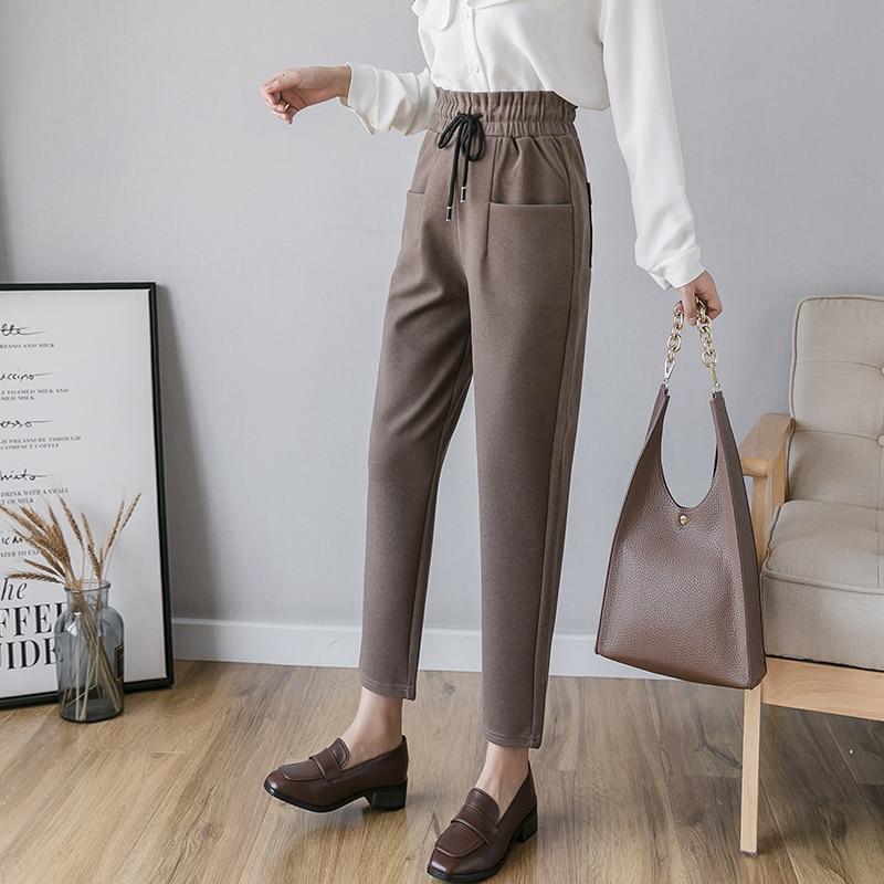 2019 Women Woolen Harem Pants Warm Autumn Winter High Waist Elastic Casual Trousers Plus Size 5XL Drawstring Ankle-Length Pants