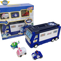 ROBOCAR POLI action figure robot bus with three pull back cars POLI school car children parking lot toys anime figure gift
