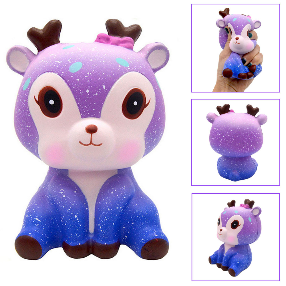 Besegad Slow Rising Squishy Sky Star Deer Squishi Starry Deer Squeeze Cartoon Animals Jumbo Stuffed Decompression Stress Toy