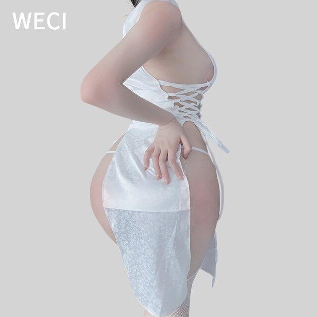 WECI Cheongsam Sexy Dresses Body Under Wear Erotic Women Silk Robes Tree Beautiful Slut Satin Role Play Classical Dance Costume 2