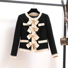 Высококачественная Женская куртка с бантом, бисером, бриллиантами, твидовые черные шерстяные куртки, женские модные пальто с длинным рукавом, одежда