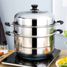 Двухслойная Толстая Пароварка из нержавеющей стали, паровой горшок для супа, универсальные кастрюли для приготовления пищи, для индукционной плиты, газовая плита, паровой горшок