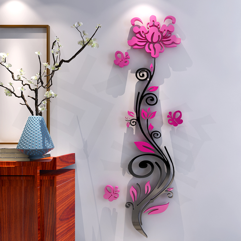 Rose flower acrylic three-dimensional wall stickers modern brief 3d Mirror wall sticker TV background Vertical flower