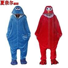 pajamapyjamaпижамаPajamas One Piece Flannel Sesame Street cute cartoon couple Winter Animal Pajamas show clothes