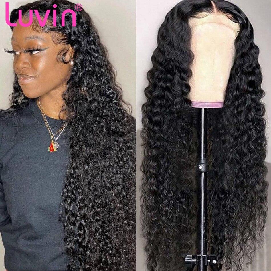 Luvin onda profunda peruca frontal do laço do cabelo humano perucas frontal peruca frontal do laço pré arrancado fechamento perucas encaracolado remy 13x4 para preto