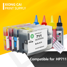 Compatible Cartridge Replacement For HP 711 XL Refillable Inkjet Cartridge with Chip Deskjet T520 T120 Printer hp711 full ink vilaxh 655xl refillable ink cartridge replacement for hp 655 xl for deskjet 3525 4615 4625 5525 6520 6525 6625 printer