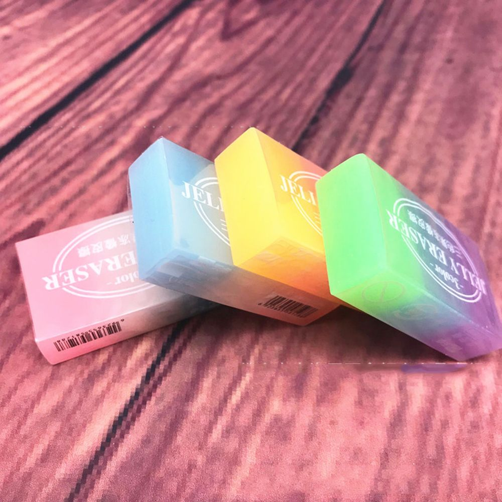 1PCS Three-color Jelly Color Eraser Three-dimensional Crystal School Supplies Eraser Q Bomb Jelly Color Students