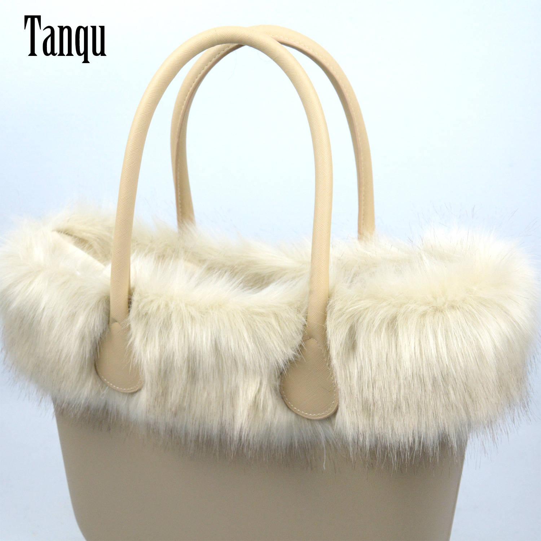 BAG Plush-Trim O-Bag Tanqu Faux-Fox-Fur Classic Mini Women New for Fit-For Big Beige