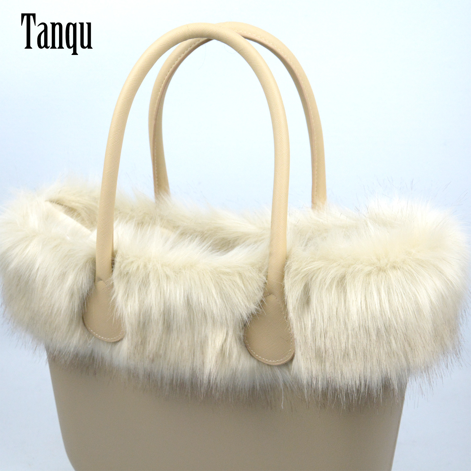 Tanqu New Women Bag Faux Fox Fur Beige Plush Trim For O BAG Thermal Plush Decoration Fit For Classic Big Mini Obag