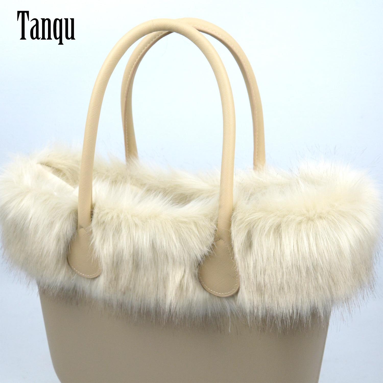 Tanqu New Women Bag Faux Fox Fur Beige Plush Trim For O BAG Thermal Plush Decoration Fit For Classic Big Mini Obag