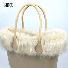 Tanqu جديد المرأة حقيبة فو الثعلب الفراء البيج أفخم تقليم ل O حقيبة الحرارية أفخم الديكور صالح لل كلاسيكي كبير حقيبة صغيرة