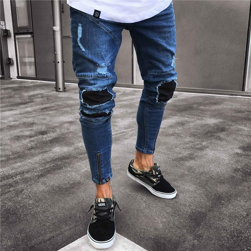 Cross-Border Europe High Street Men Locomotive Jeans Knee Folds Hole Slim Zipped Feet Pants Male