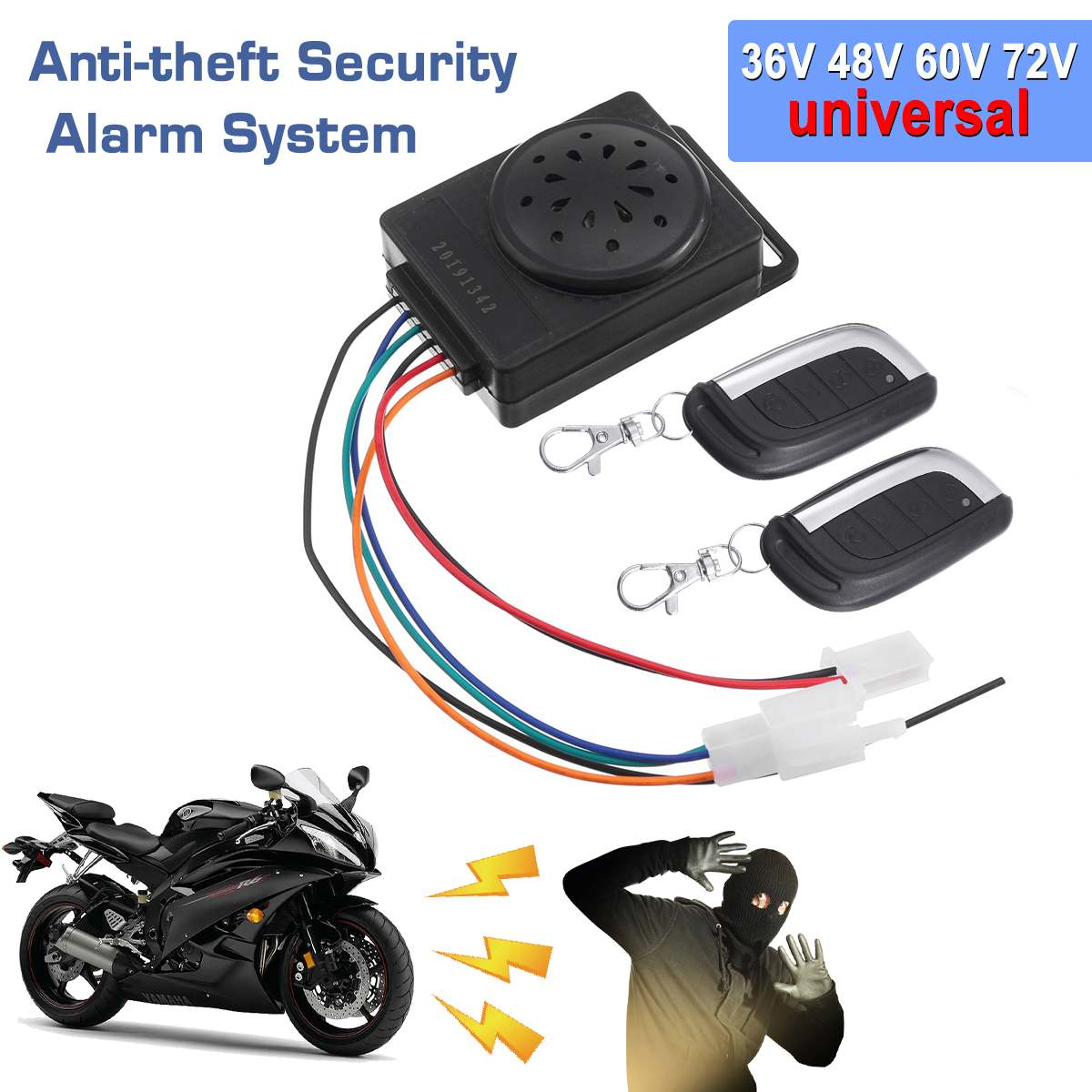 36V 48V 60V 72V Universal Two Way Motorcycle Alarm System Scooter Anti-theft Security Alarm System With Remote Control