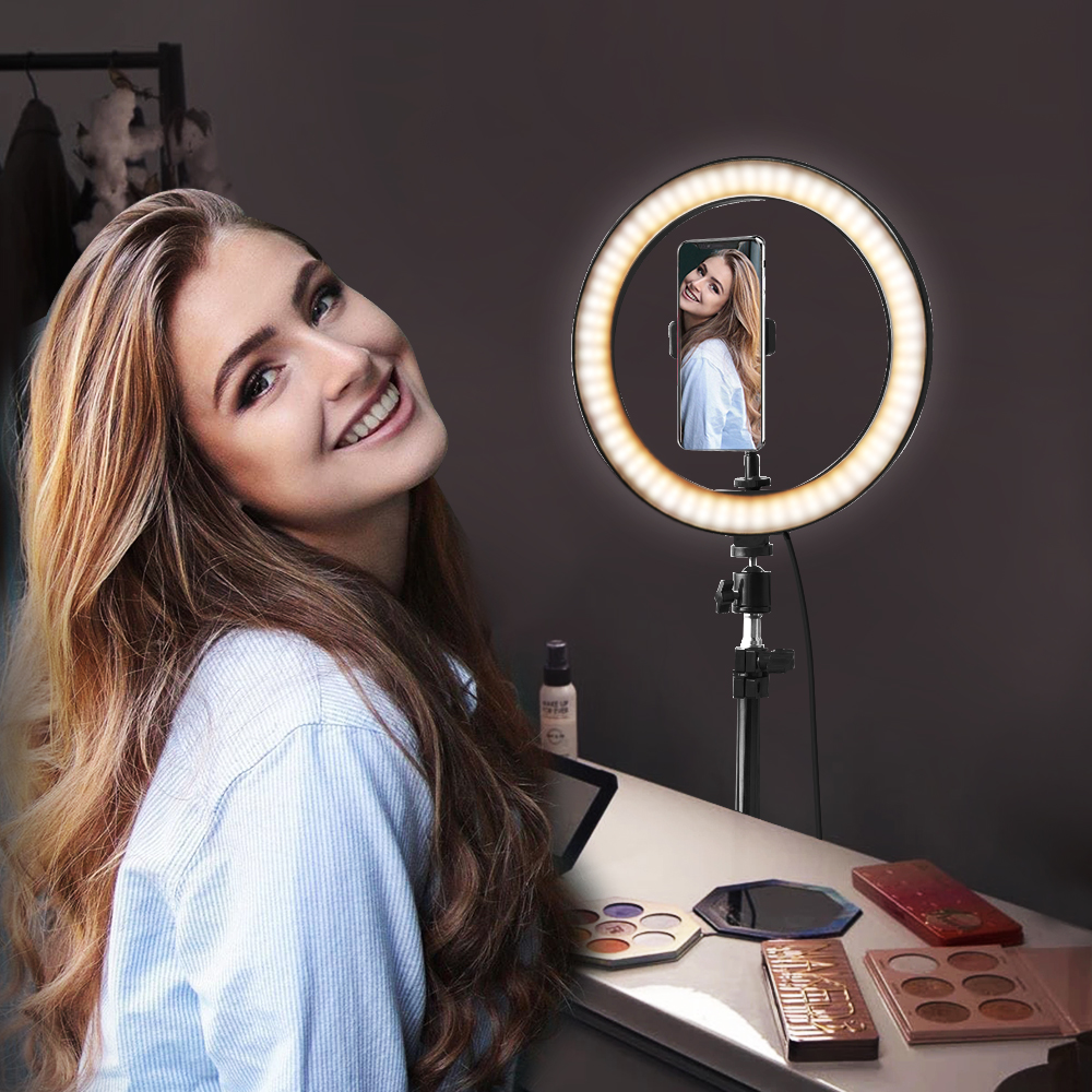 Rovtop 10 Inch Selfie Ring Light with Ring Stand for iPhone Tripod and Phone Holder for Video Photography 4