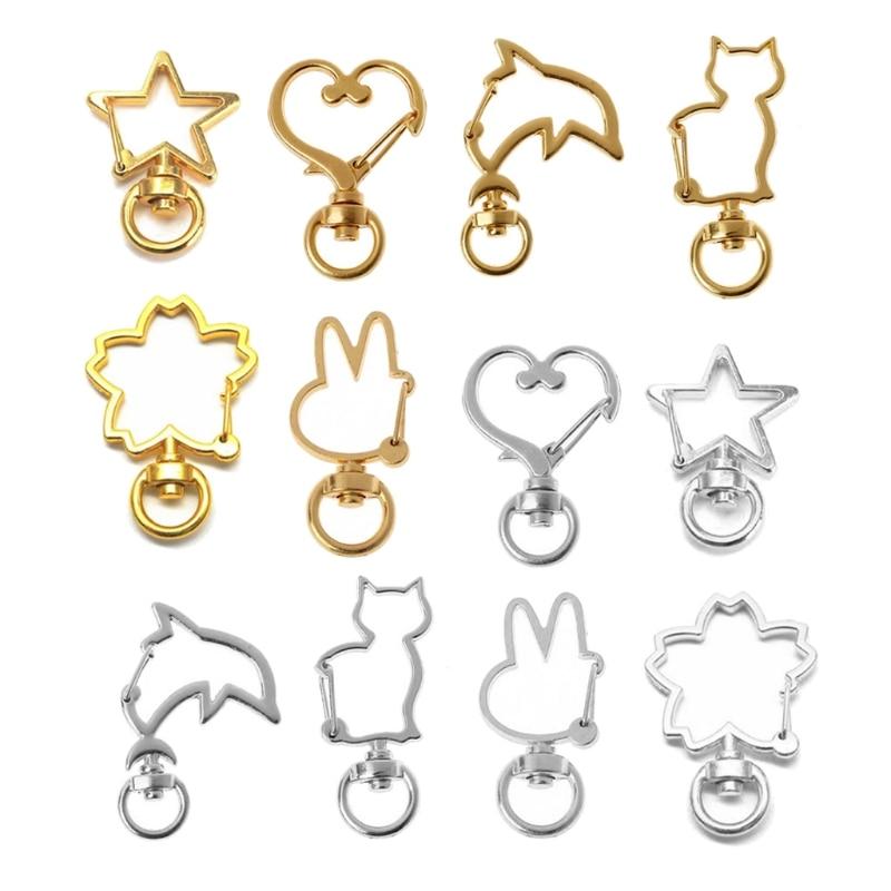 30Pcs Metal Heart Star Rabbit Cat Shape Keychain Swivel Lobster Clasp Metal Spring Snap Keychain Key Ring Jewelry Making