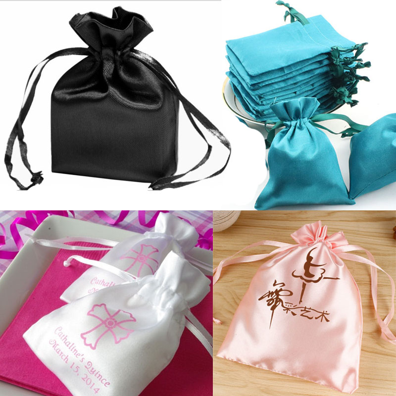 "Silk Stain Gift Packaging Bag 9x12cm 10x15cm(4""x 6"") Can Print Logo Makeup Jewelry Drawstring Pouches"