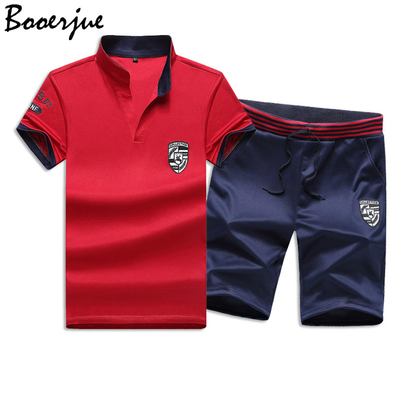 Casual Summer Short Sets Men Suits Sportswear Tracksuit Stand Collar Male Outwear Sweatshirts Hoodies Patchwork T Shirt +Pants