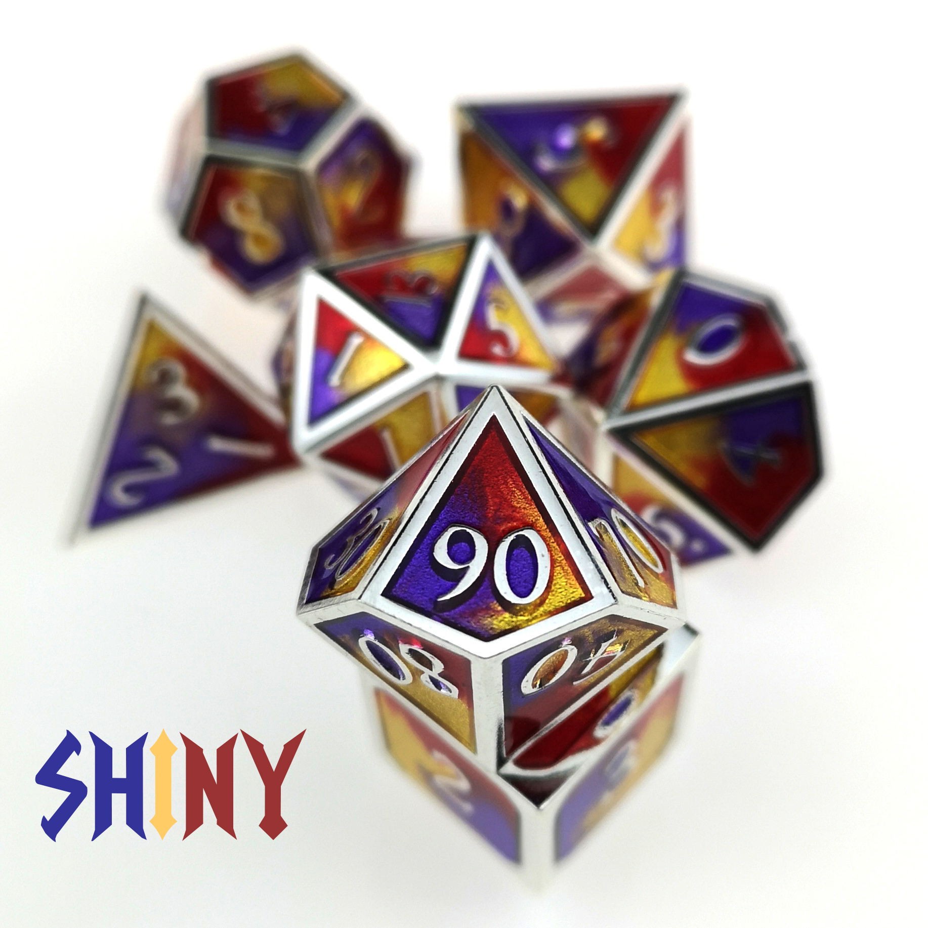 Rollooo Large Shapes Prismatic Metal Dice 7-Die Set D4 D6 D8 D10 D% D12 D20 For Role Playing D&D MTG Games