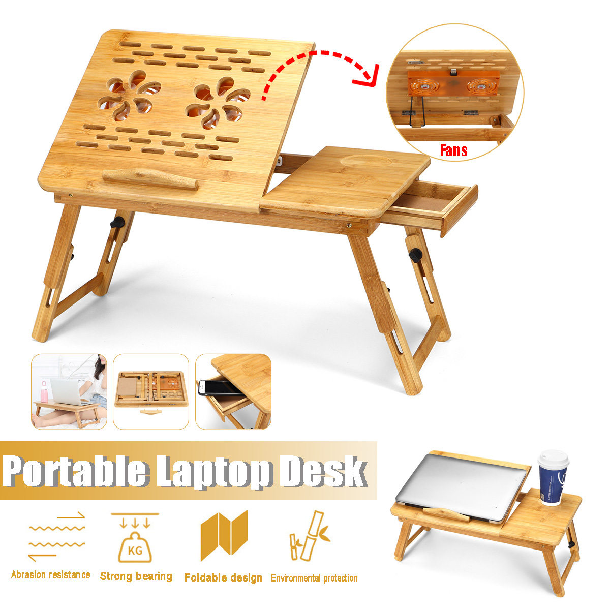 Bamboo Folding Portable Laptop Table Sofa For Computer Notebook BooksBed Office Laptop Stand Desk With Cooling Fan Bed Table