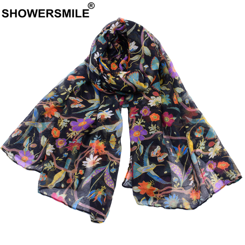 SHOWERSMILE Women Scarf Flower Print Voile Spring Autumn Colourful Scarfs For Ladies Scarf Women Echarpe