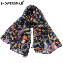цены SHOWERSMILE Women Scarf Flower Print Voile Spring Autumn Colourful Scarfs for Ladies Scarf Women Echarpe