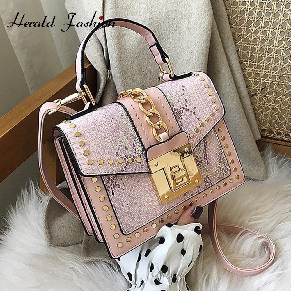 New Fashion Women Bags Snake Pattern PU Leather Crossbody Bags For Women Shoulder Bag Rivet Handbags Ladies Small Messenger Bag