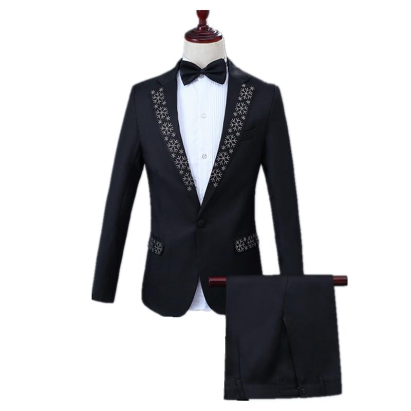 Prom Party Suit Set 2 Piece (Jacket+Pant) Fashion Men Slim Two-edge Lapel Inlaid Diamond Snowflake Embellished Black Casual Suit
