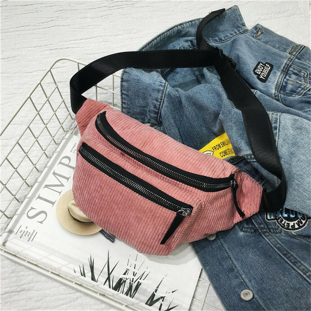 Fashion Corduroy Fanny Pack Women Waist Bag Belt Money  Travel Sport Bum Bag