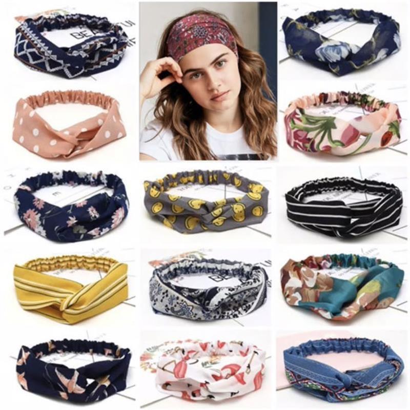 2020 Fashion Women Girls Bohemian Hair Bands Print Headbands Vintage Cross Turban Bandage Bandanas HairBands Hair Accessories