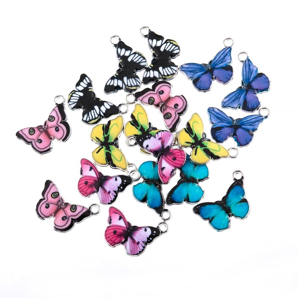 10PCS Butterfly Pendants Colourful Enamel Butterfly Charm Small Animal Findings DIY Bracelet Earring Jewellery Supplies