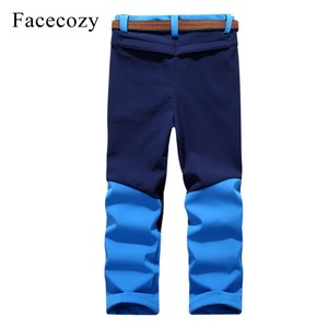 Image 5 - Facecozy Kids Winter Thicken Outdoor Sports Pants With Fleece Windproof Warm Softshell Trousers Children Adventure Camping Pants