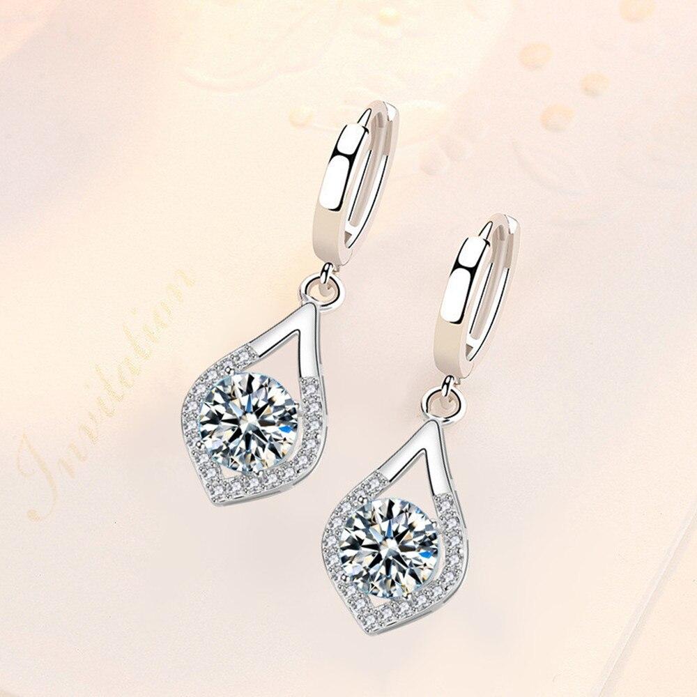 NEHZY 925 sterling silver new women's fashion jewelry earrings high quality blue crystal zircon drop heart-shaped long earrings