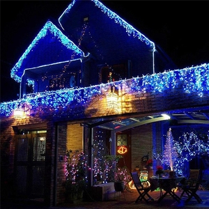 Image 4 - 8m 48m Christmas Garland LED Curtain Icicle String Light 220V Droop 0.4 0.6m Mall Eaves Garden Stage Outdoor Fairy Lights