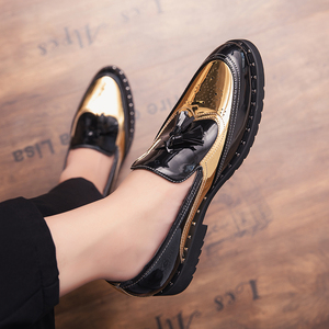 Image 3 - Men Loafers Business tassel Wedding Brand Men Shoes outdoor slip on Breathable Banquet Gold Black Male Shoes Chaussure Homme a4